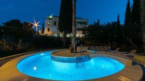 Seasonal outdoor pool, open 8 AM to 8 PM, pool umbrellas, sun loungers