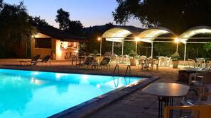 Seasonal outdoor pool, open 10 AM to 8 PM, pool umbrellas, pool loungers