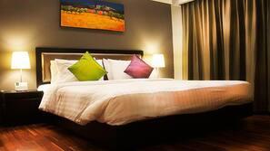 Pillow-top beds, free minibar, in-room safe, desk