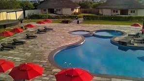 Outdoor pool, pool umbrellas, pool loungers