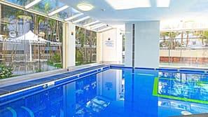 Indoor pool, outdoor pool, open 7 AM to 8:30 PM, pool umbrellas