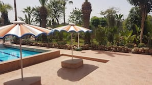 2 outdoor pools, open 8:00 AM to 6:30 PM, pool umbrellas, pool loungers