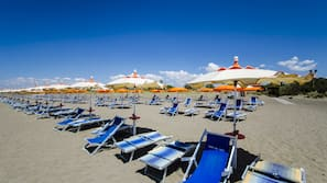 Private beach, sun-loungers, beach umbrellas, windsurfing