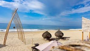 On the beach, beach massages