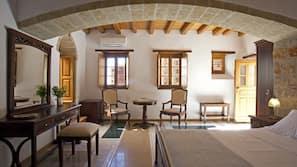 Egyptian cotton sheets, pillowtop beds, minibar, desk