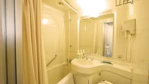 Shower, free toiletries, hair dryer, slippers