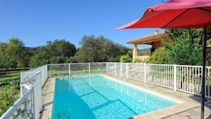 Outdoor pool, a heated pool, pool umbrellas, sun loungers