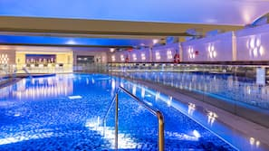 Outdoor pool, open 6:00 AM to 8:00 PM, pool loungers, lifeguards on site