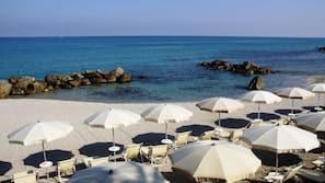 Private beach, sun loungers, beach umbrellas
