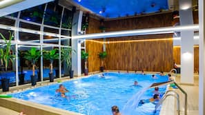 Indoor pool, open 9:00 AM to 10:00 PM, free cabanas, sun loungers