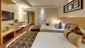 Memory-foam beds, minibar, in-room safe, desk