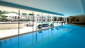 Indoor pool, outdoor pool, open 7 AM to 10 PM, sun loungers