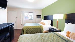 Premium bedding, Tempur-Pedic beds, desk, blackout drapes