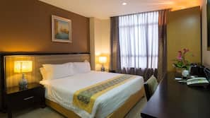 Egyptian cotton sheets, down comforters, minibar, in-room safe