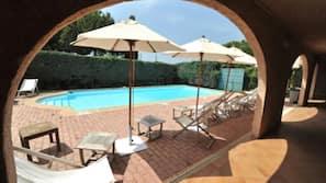 Seasonal outdoor pool, open 9:00 AM to 9:00 PM, pool umbrellas