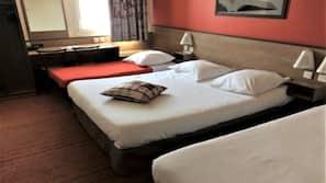 Premium bedding, memory foam beds, desk, blackout curtains