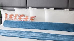 Premium bedding, memory foam beds, in-room safe, blackout curtains