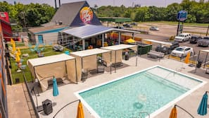 Seasonal outdoor pool, open 9:00 AM to 9:00 PM, cabanas (surcharge)
