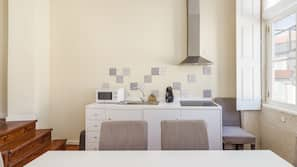Mini-fridge, microwave, stovetop, espresso maker
