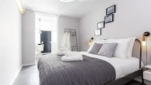 Individually furnished, desk, laptop workspace, iron/ironing board
