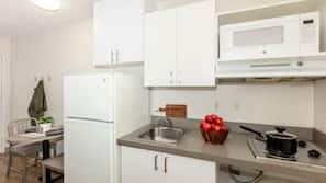 Full-size fridge, microwave, stovetop