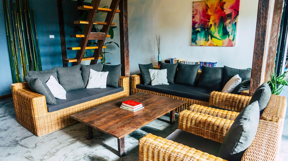 Living Room, Villa With a Natural Pool, Near Lio Beach