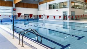 Indoor pool, open 6:30 AM to 9:00 PM, lifeguards on site