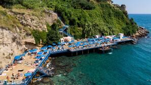 Beach nearby, black sand, free beach cabanas, sun loungers