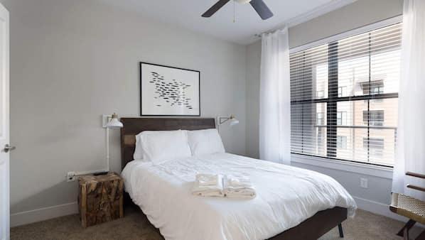 Memory foam beds, laptop workspace, iron/ironing board, free WiFi