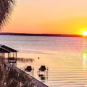 Large Lake Front House With Private Beach, Dock, and Magnificent Sunset