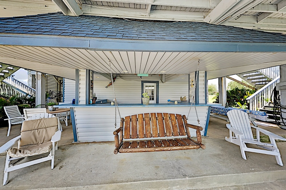 Balcony, Waterfront Island Tiki House With Boat Slip & Deck! - 3 Bedroom Home
