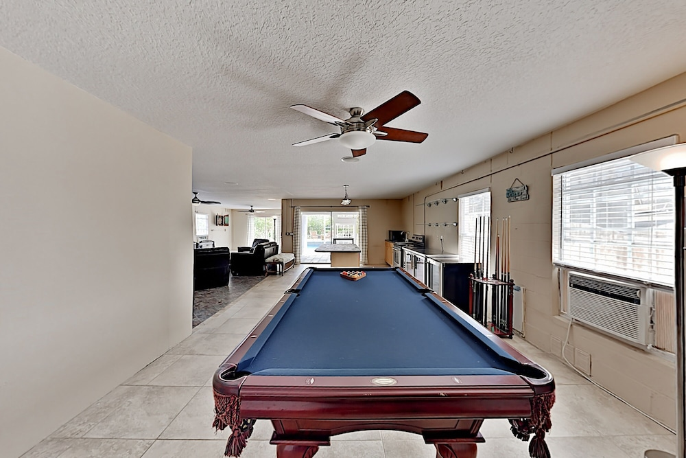 Billiards, Immaculate Canal W/ Pool, Dock & Game Lounge 4 Bedroom Home