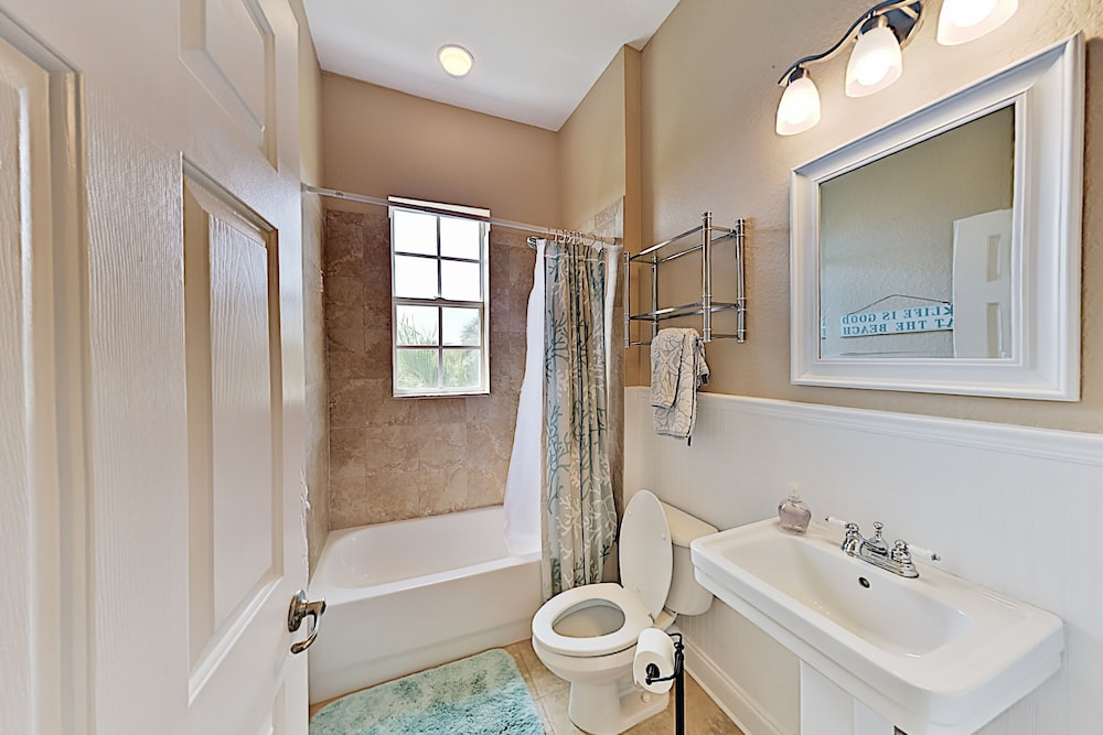 Bathroom, Immaculate Canal W/ Pool, Dock & Game Lounge 4 Bedroom Home