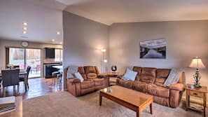 Flat-screen TV, fireplace, DVD player, table tennis table