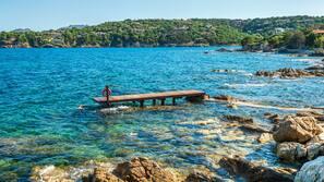 Playa privada, tumbonas y sombrillas