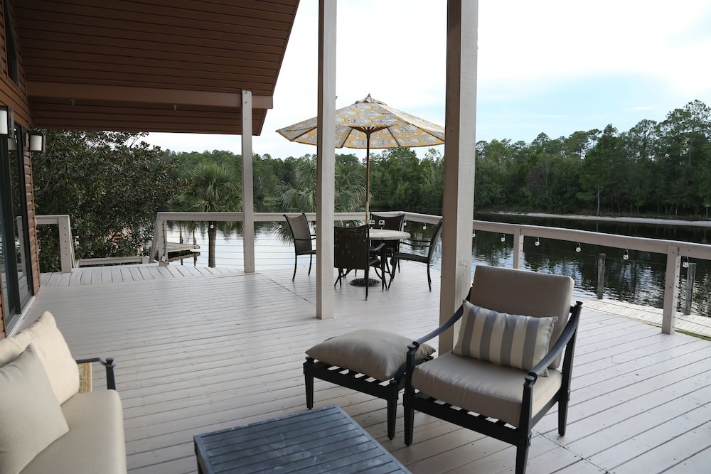 Balcony, Jourdan River House: Enjoy Life on the River!