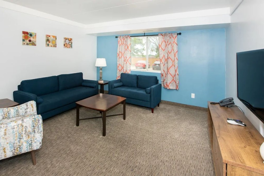 Living Room, 2BR Apt & Hotel Amenities for an Epic Stay!