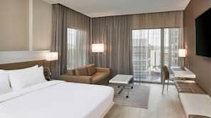 Hypo-allergenic bedding, desk, laptop workspace, iron/ironing board