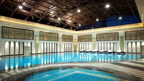 2 indoor pools, lifeguards on site