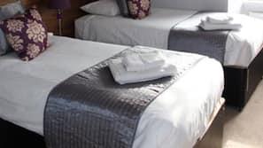 Hypo-allergenic bedding, desk, iron/ironing board, linens