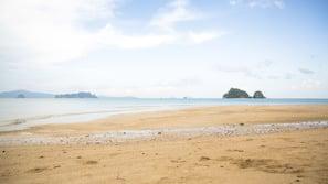 Private beach, beach towels, beach volleyball