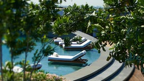 Outdoor pool, open 6:00 AM to 8:00 PM, pool umbrellas, sun loungers