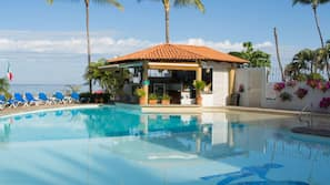 2 outdoor pools, open 9 AM to 8 PM, pool umbrellas, sun loungers