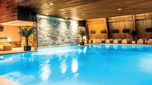 Indoor pool, open 8 AM to 10 PM, pool loungers