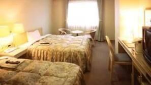 Down comforters, desk, blackout drapes, rollaway beds