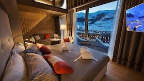 Biancheria da letto di alta qualità, materassi a doppio strato, minibar