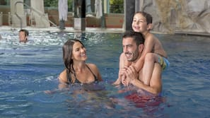 Indoor pool, open 9:00 AM to 9:30 PM, sun loungers