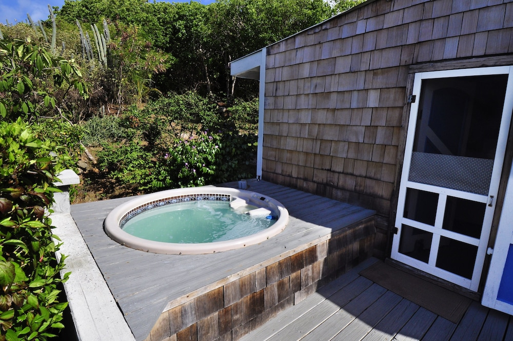 Unwind in the outdoor spa tub