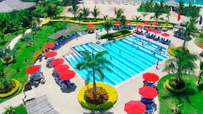 2 outdoor pools, open 8:00 AM to 6:00 PM, pool umbrellas, sun loungers