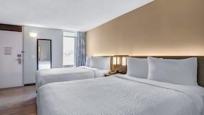 Pillowtop beds, desk, blackout drapes, free WiFi